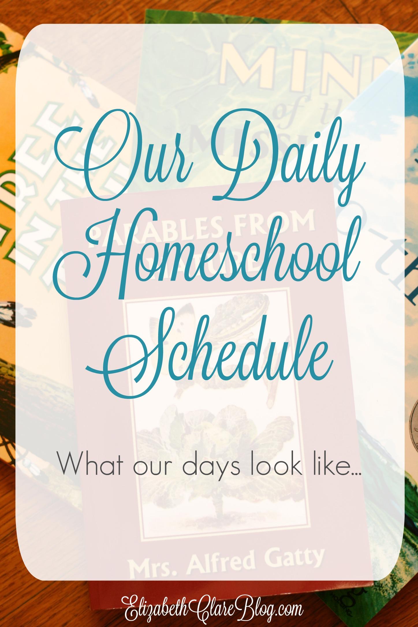 Daily Homeschool Schedule 2015 – 2016