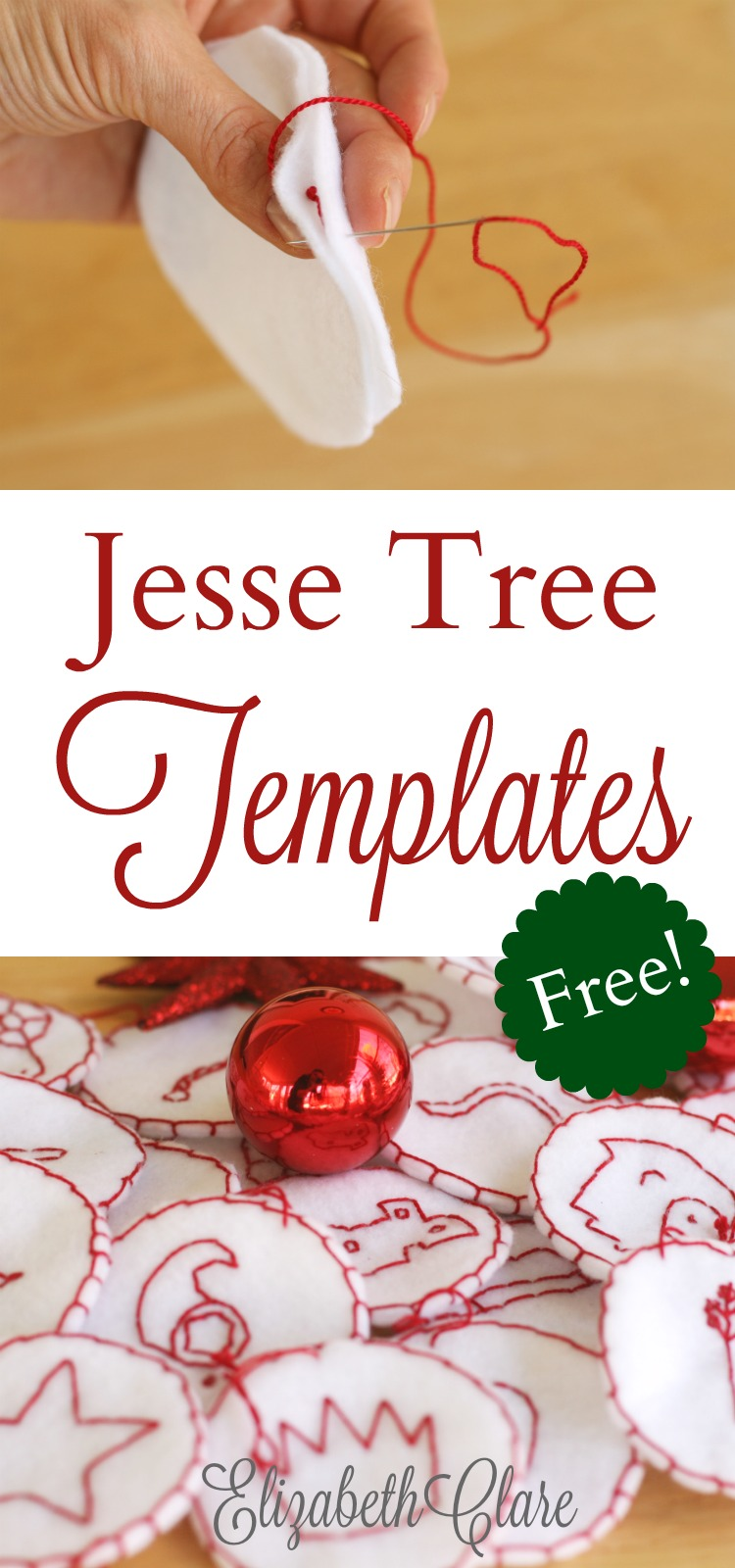 FREE! Jesse Tree Felt Templates. AWESOME and beautiful, easy diy for this fun Advent tradition!