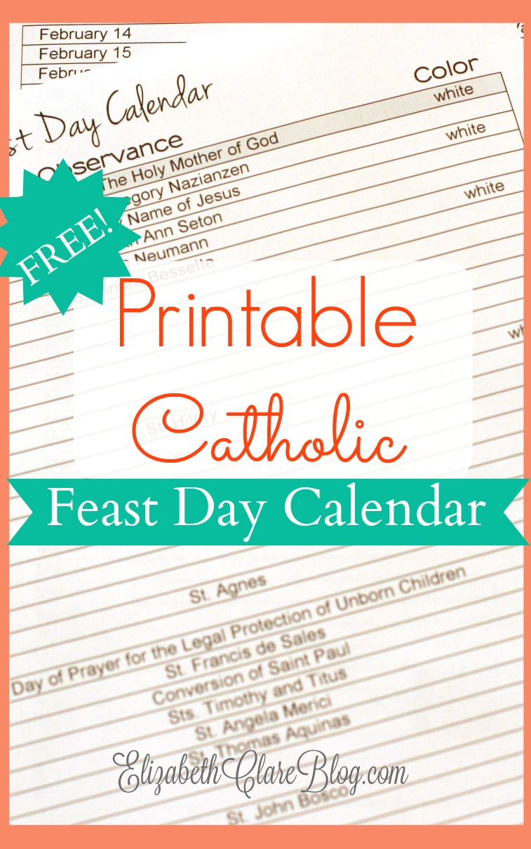 picture about Liturgical Year Calendar Printable identify cost-free-printable-feast-working day-calendar - elizabeth clare