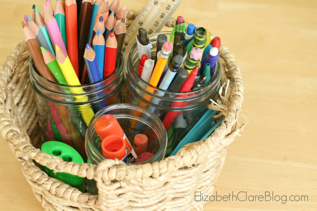 Homeschool supplies, pens, pencils,
