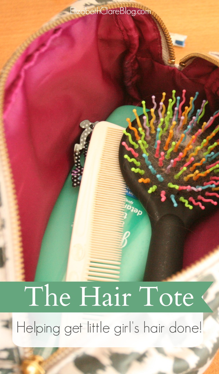 Organizing little girl's hair supplies, accessories, brushes, comb, barrettes and head bands, and help in getting their hair done. Plus a detangling spray recipe DIY