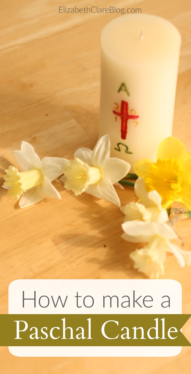 Easy step-by-step of how to make a Paschal candle with your kids as a liturgical Lent and Easter craft for kids and family. Celebrate Holy Week!