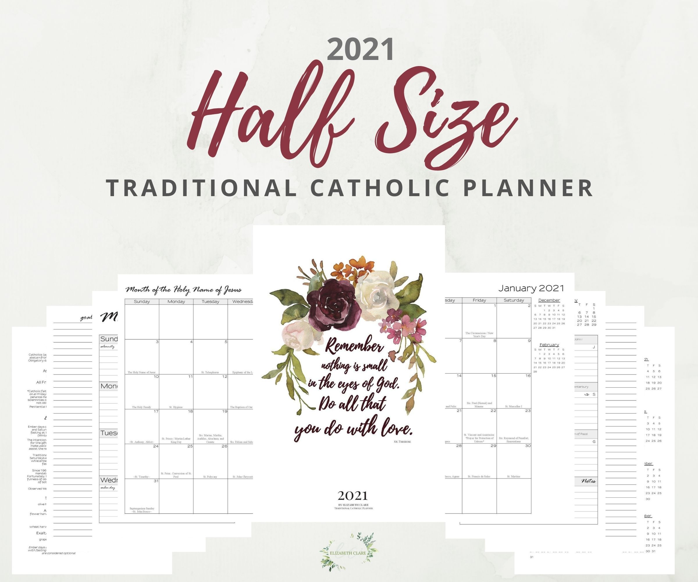 2021 Traditional Catholic Monthly Planner PDF Printable ...